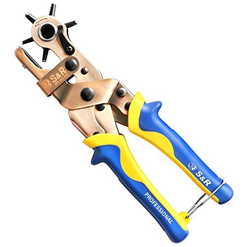 S&R Hebel-Revolverlochzange RUND 2- 2,5 - 3 - 3,5 - 4 - 4,5 mm Lochzange Pfeifenzange mit Hebel-Übersetzung