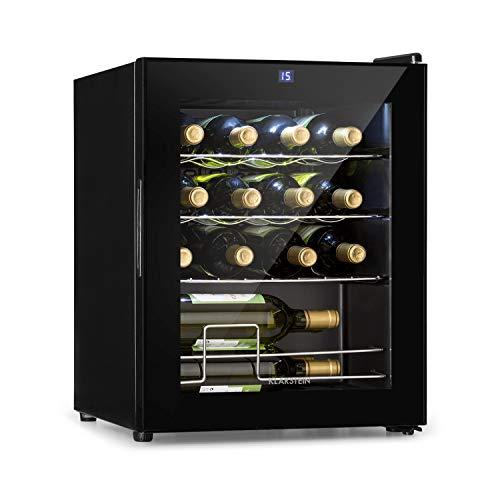 Klarstein Shiraz Weinkühlschrank • Volumen: 42 Liter • Temperaturen: 5-18 °C • Platz für 16 Flaschen Wein • Energieeffiezienzklasse A • Soft-Touch-Bedienfeld • 3 Regaleinschübe • freistehend • schwarz