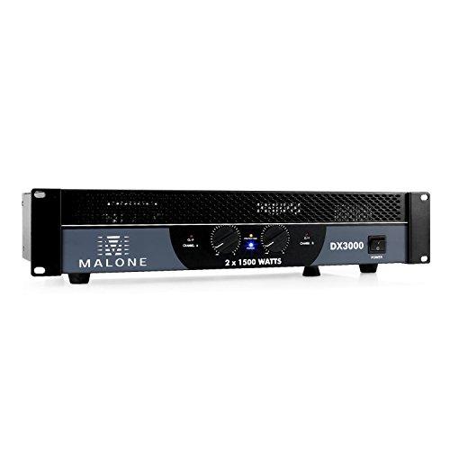 Malone DX3000 • PA-Endstufe • PA-Verstärker • 2 x 1500 W max. • brückbar: 2/1 Kanal-Betrieb • 48cm Rackeinbau • 2 x Klinken- & Cinch-Line-In • 2 x PA-Ausgang • LED-Anzeige • Metallgehäuse • schwarz