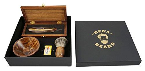Rasiermesser Set mit Wechselklingen für Männer - Rasierpinsel aus Dachshaar, klassisches Rasiermesser in edler Holzkiste und Schale / Bowl für Rasierschaum in edler Geschenkverpackung