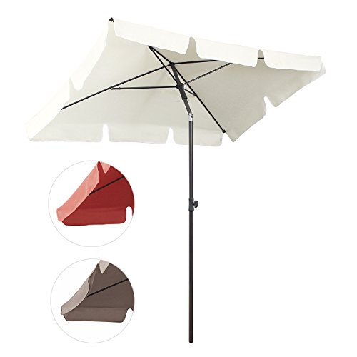 Sekey 200 × 125 cm Sonnenschirm Marktschirm Gartenschirm Terrassenschirm Sonnenschutz UV 50+ Creme Quadratisch