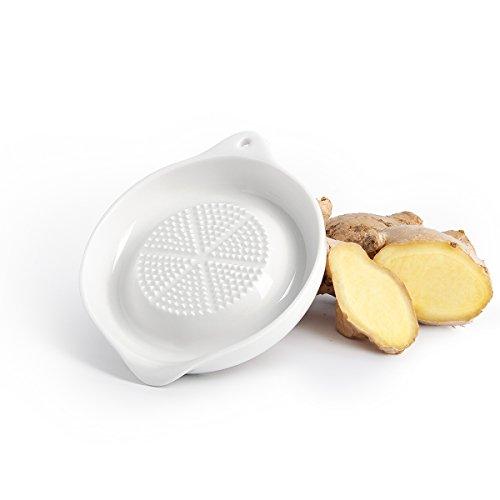 Sweese 3602 Ingwerreibe, Stabile Porzellan Ingwer Reibe Küchenreibe Obstreibe Wasabireibe vegan gingergrater, 11 x 9 x 2 cm weiß