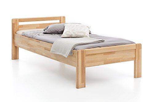 Massivholz-Bett aus Kernbuche, als Seniorenbett geeignet, in Komforthöhe, geöltes Einzel- und Komfortbett mit Kopfteil (100 x 200 cm)