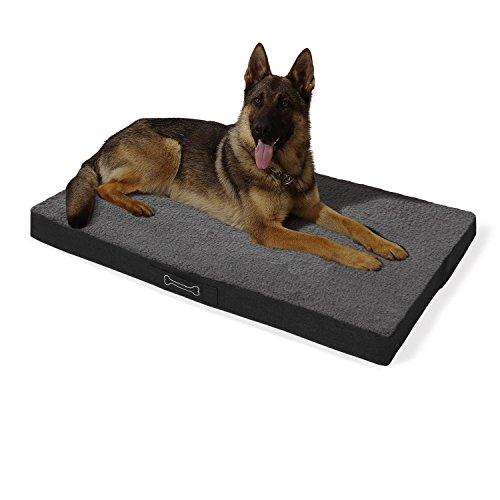 brunolie 'Buddy' Hundebett waschbar, orthopädisch und rutschfest, Hundekissen mit kuscheligem Plüsch, Größe XL, grau