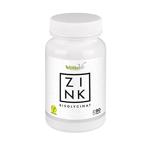 Zink Tabletten (Kapseln) von BjökoVit   25mg Bisglycinat hochdosiert und vegan I Nahrungsergänzungsmittel ohne Zusatzstoffe für Immunsystem, Stoffwechsel sowie Haare, Haut und Nägel