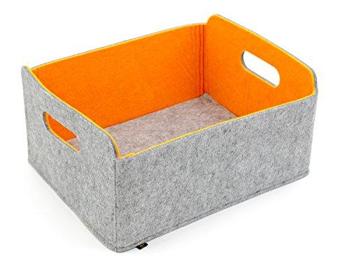 Hochwertiger, faltbarer Aufbewahrungskorb von Luxflair aus edlem, zweifarbigem Filz in graumeliert/orange (+ weitere Farben). Länge 30cm, Breite 24cm, Höhe 15cm. Aufbewahrungskorb, Ordnungsbox, Regalbox, Faltbox, Spielzeugkorb, Filzkorb, Briefkorb. Besonders pflegeleicht: waschbar bei 30