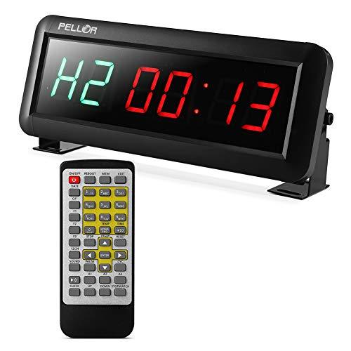 Pellor Fitness Timer, Multifunktionale LED Display Intervall Timer Stoppuhr Wanduhr mit IR-Fernbedienung Geeignet für Crossfit, Tabata, EMOM, MMA