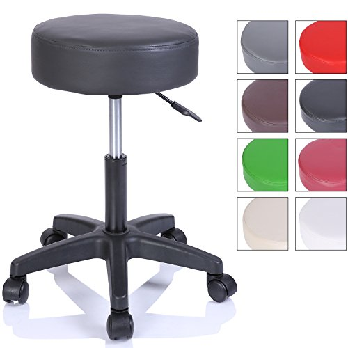 Rollhocker Arbeitshocker Hocker Drehhocker Kosmetikhocker Praxishocker höhenverstellbar mit Rollen, 360° drehbar, 10 cm Polsterfläche und 8 Farbvarianten (Schwarz)
