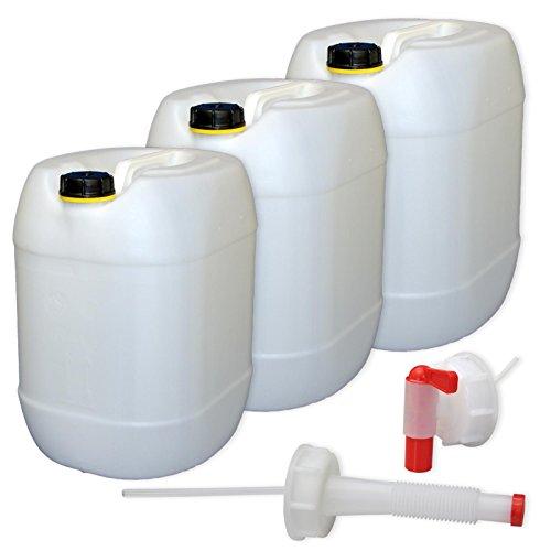3 x 30 L Kanister mit Deckel, Zapfhahn und Ausgießer, natur Trinkwasser