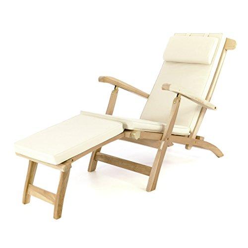 Divero Liege - Stuhl Deckchair Florentine Sonnenliege Steamer Chair mit Auflage Natur Creme
