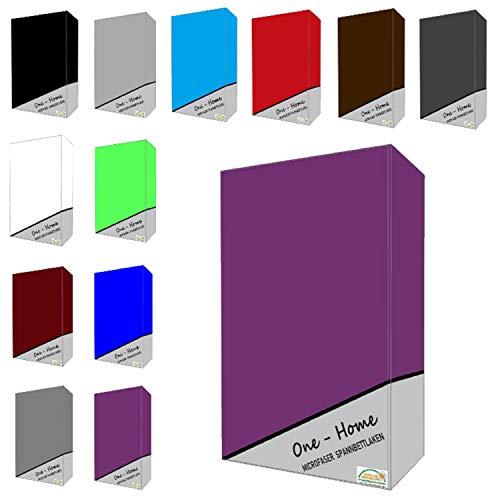 one-home Microfaser Spannbettlaken Spannbetttuch Bettlaken Betttuch mit Rundumgummi, Farbe:Lila, Maße:90x200 cm - 100x200 cm