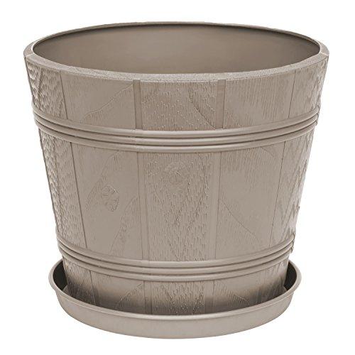 Blumentopf Blumenkübel inkl. Untersetzer beige rund Kunststoff D 42,5 cm Elba