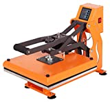 RICOO T438M-GS Transferpresse mit Öffnungsautmatik Textilpresse Textildruckpresse Klappbar Thermopresse Transferdruck Bügelpresse Textil T-Shirtpresse Sublimationspresse/Orange