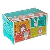 Style home Spielzeugtruhe Spielzeugkiste Kinder Sitztruhe Sitzbank Aufbewahrungsbox für Kinderzimmer 'Bär, Hase, Tiger und Löwe'' Holz, 60 x 36 x 39 cm