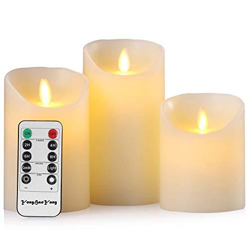 LED-Kerzen, flammenlose Kerzen, 10,2 cm, 12,7 cm, 15,2 cm, Echtwachskerze, Stumpenkerze, Fernbedienung mit 10 Tasten, mit 24-Stunden-Zeitschaltuhr (1 * 3)