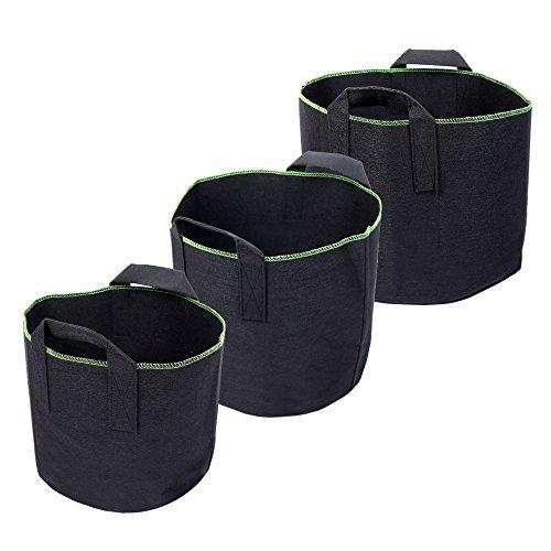 Schramm 3er Pack Pflanzsäcke aus Vliesstoff 15, 20, 30 Liter Pflanzstock 3 Stück Garten Sack aus Fliesstoff zum Bepflanzen Pflanzgefäß Pflanzbehälter Pflanzbeutel