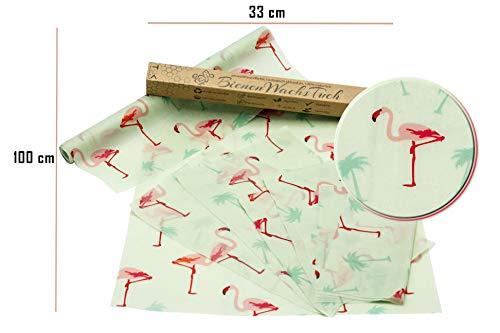 TOK Bienenwachstücher - Rolle, Wachstuch 100% organische Baumwolle - waschbar & wiederverwendbares Bienenwachs - Beeswax Wrap, Beewax Tuch, Wachspapier 100 x 33 cm inkl. Schnittmuster (Flamingo)