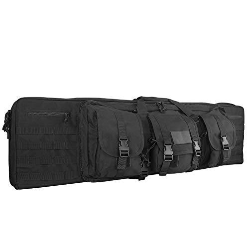ProCase Doppel Gewehrbeutel Tasche, 36' Taktische Doppel Langgewehr Pistolenhülle mit MOLLE Taschen, Verschließbare Taschenfächer für die Aufbewahrung von Zeitschriften und andere Werkzeuge -Schwarz