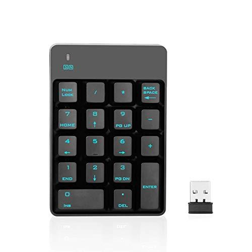 Jelly Comb 2.4G Funk Nummerische Tastatur, 18 Tasten Kabellose Nummernblock Ziffernblock mit USB Empfänger für Laptop/MacBook/Notebook/PC