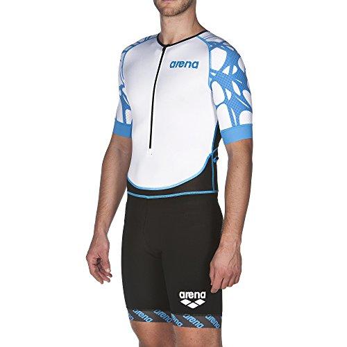 arena Herren Triathlon Einteiler (Kurze Ärmel, Frontreißverschluss ST, Atmungsaktiv, Aerodynamisch), Black-White-Aqua Blue (504), L
