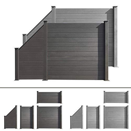 HORI WPC-Zaun I Sichtschutz-Zaun, Steckzaun, Gartenzaun Komplettset I zum einbetonieren I grau
