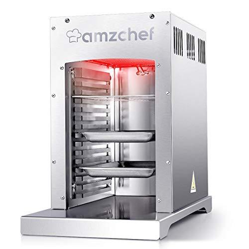 AMZCHEF Infrarot Brenner Gas BBQ Gasgrill, 800¡æ Hochleistungs Beefmaker Steakgrill Outdoor, Professioneller Beefmaker, Abnehmbar Leicht Zu Reinigender, 100% Edelstahl-Gas Grill