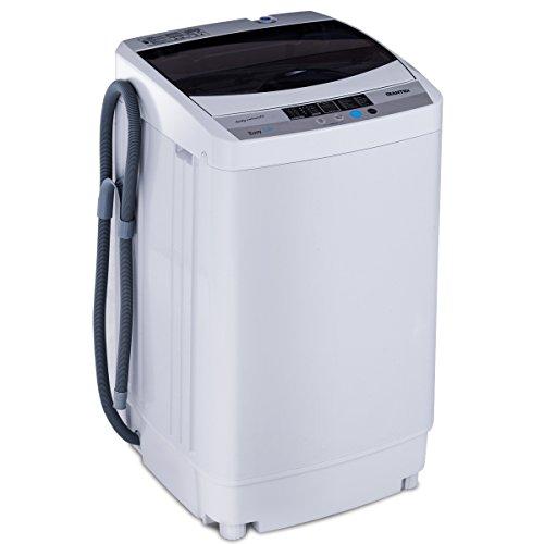 COSTWAY Waschmaschine, Waschvollautomat, Toplader, Mini Waschmaschine mit Pump, Schleuder, Display / 4,5kg /310W/ 50×50×85cm / Weiß