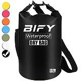 Dry Bag BIFY 5L/10L/15L/20L/25L/30L/40L Leicht Wasserfester Rucksack/Wasserdichte Tasche/Trockensack mit lang Verstellbarer Schultergurt für Boot und Kajak Wassersport Treiben (Schwarz, 15L)