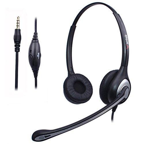 Headset Handy Binaural mit Noise Cancelling Mikrofon, WANTEK Smartphone Kopfhörer für iPhone Samsung Huawei HTC LG ZTE Blackberry Android Mobiltelefon mit 3,5mm Klinkenstecker(F602J35)