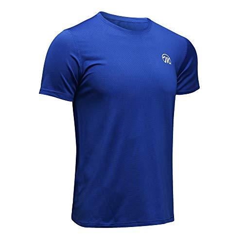 MEETWEE Sportshirt Herren, Laufshirt Kurzarm MeshFunktionsshirtAtmungsaktivKurzarmshirt Sports Shirt Trainingsshirtfür Männer, Blau, S
