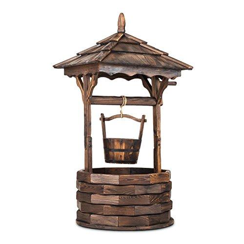 Blumfeldt Loreley • Deko-Brunnen • Garten Dekoration • Gartenbrunnen • Höhe: 135 cm • Material: Tannenholz • Brandbehandlung zum Schutz gegen Witterung • künstlicher Alterungseffekt • einfacher Zusammenbau • Gewicht: 10 kg • einfacher Zusammenbau • braun