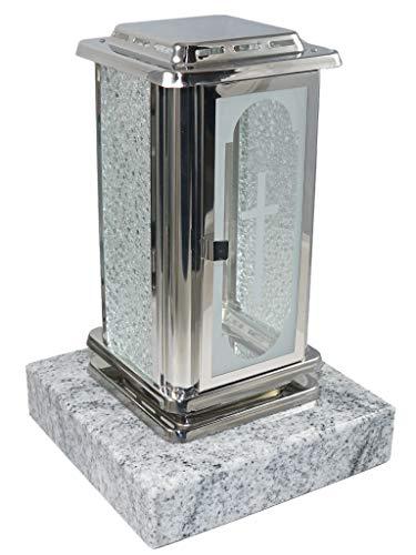 Kunst-Art-Köhl Grablaterne aus Edelstahl poliert montiert auf Einem Granitsockel,Grablampe (Frontscheibe mit Kreuz, Wiscount White)