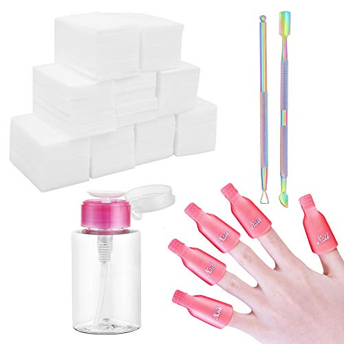 Gel-Nagellackentferner-Kit, 600 Stück abwischbare Wattepads, 10 Stück Nagelklammern, Triangel-Nagelhautschieber, Nagelhautschieber mit Pumpspender, Flasche