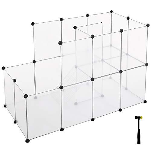 SONGMICS Meerschweinchen-Käfig mit Rampe, Freigehege für Kaninchen, großer Auslauf mit Treppe, DIY-Hamsterkäfig aus Kunststoff, Kleintiergehege für den Innenbereich, transparent LPC03W