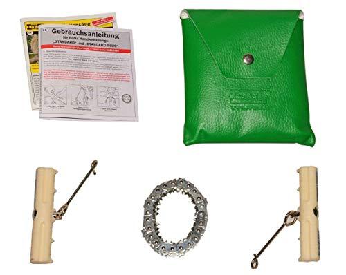 Handkettensäge – Mit verchromter Kette – LEISE, SCHARF und FLEXIBEL – Sägen Sie so leicht und sicher wie nie – 144 Kettenglieder – 130cm Länge – C344469 (Plus)