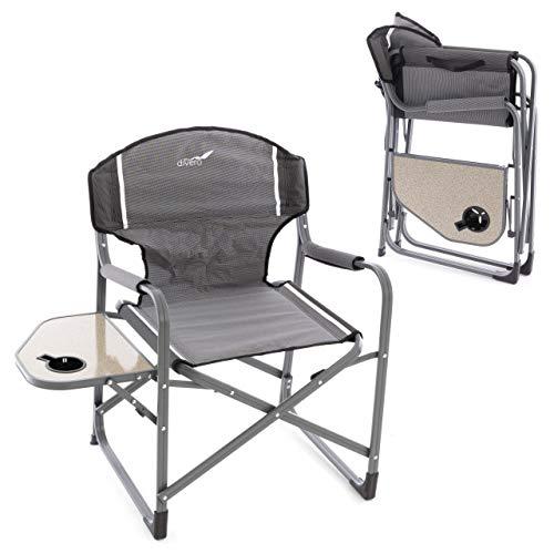 Divero 2er Set Angelstuhl Regiestuhl Campingstuhl mit Armlehnen und Getränkehalter - Polyester Aluminium - Farbe: Rahmen hellgrau - Bespannung grau