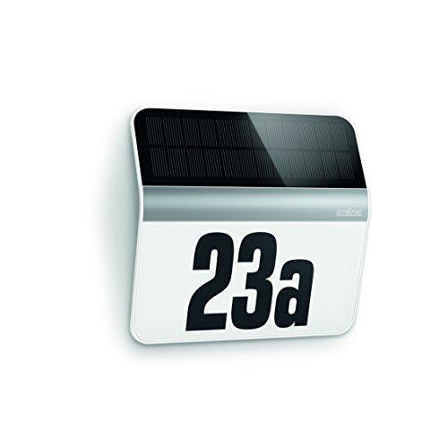 Steinel LED Solar Leuchte XSolar LH-N edelstahl, Dämmerungsschalter, 1100 mAh LiFe-Akku, inkl. beleuchtete Hausnummer