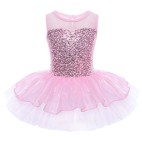 iEFiEL Mädchen Kleid Ballettkleid Kinder Ballett Trikot Ballettanzug mit Tütü Röckchen Pailletten Kleid in Weiß Rosa Türkis (122-128, Pink)