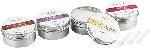 infactory Kerze: 3in1-Massagekerzen: Licht, Duft & Massageöl, 4 Stück (Duftkerzen)