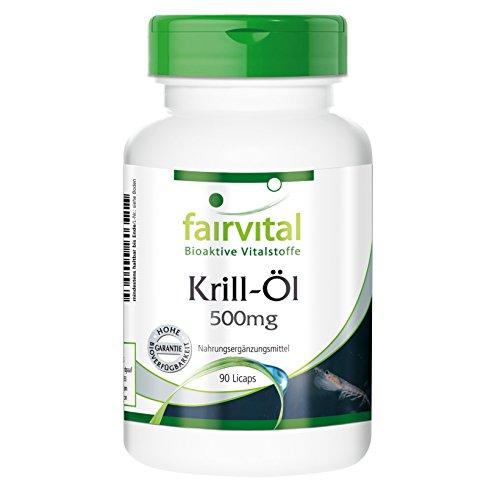 Krill-Öl 500 mg - Superba Antarktis Krilloel reich an Omega-3-Fettsäuren EPA u. DHA sowie Astaxanthin - 90 Licaps