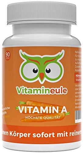 Vitamin A-Kapseln - 3000 µg - Ohne künstliche Zusatzstoffe - vegane, kleine Kapseln - Qualität aus Deutschland - 100% Zufriedenheitsgarantie - hochwertiges Retinylacetat (Vitamin A) - Vitamineule