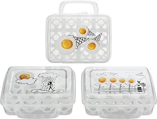 Kigima Eierbox für 12 Eier transparent mit Dekor & Tragegriff 3er Set