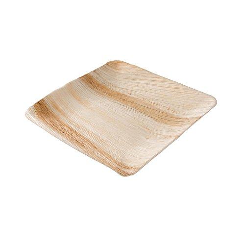 kaufdichgruen.de DTW05349 Einwegteller aus Palmblatt, 25 Stück, eckig, 25x25 cm, kompostierbar