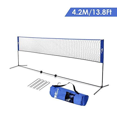 Amzdeal Badminton Netz Tragbares Volleyball- und Tennis- Netz mit Verstellbaren Höhen faltbares Federballnetz Outdoor Trainingsnetz (Blau)