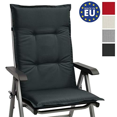 Beautissu Hochlehner Gartenstuhl Auflage Base HL 120x50x6cm Sitzkissen Rückenkissen Stuhlkissen für Gartenstühle Sitzpolster Graphit-Grau