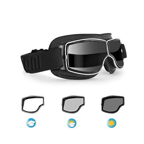 BERTONI Motorradbrille Fliegerbrille Selbsttönend Schutzbrille aus Schwarzem Leder F188PH Helmbrillen