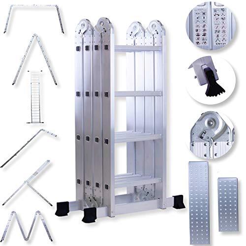 Masko 6in1 Mehrzweckleiter 4.70M ALU Anlegeleiter Klappleiter Stehleiter Aluminium Modell: 4 x 4 Stufen mit Plattform