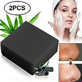 Schwarze Seife,Seife Bambuskohle,Handgemachte Seife,Ideal für Tiefenreinigung, Entschlackender Gesicht,Bamboo Charcoal Facial Soap,handgemachte Aktivkohle Seife