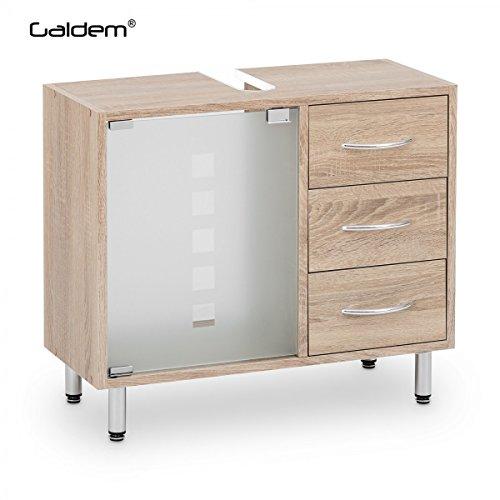 Galdem Waschbeckenunterschrank mit 3 Schubladen Glastür Bad Möbel Badschrank Gäste WC Gästebad Waschtisch Unterschrank Holz Sonoma