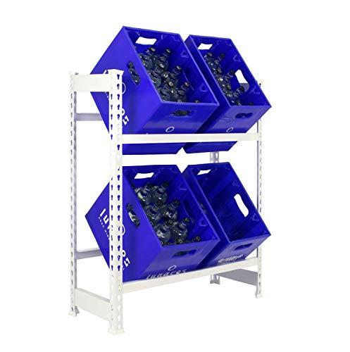 Getränkekistenregal 1000 x 810 x 300 mm, 2 Ebenen, 100 kg Tragkraft/Ebene, WEISS